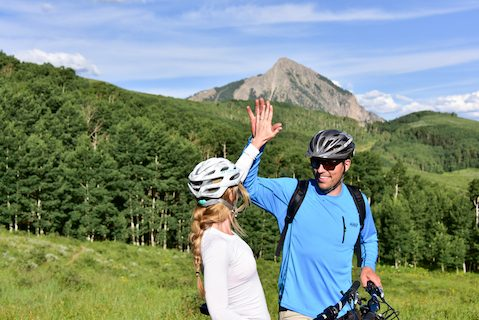 mountain biking high five