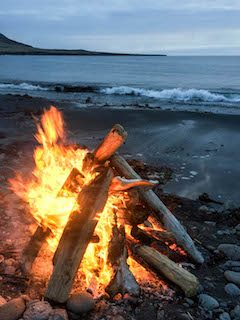 fire on a beach