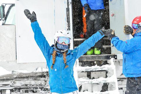 cat skiing fun