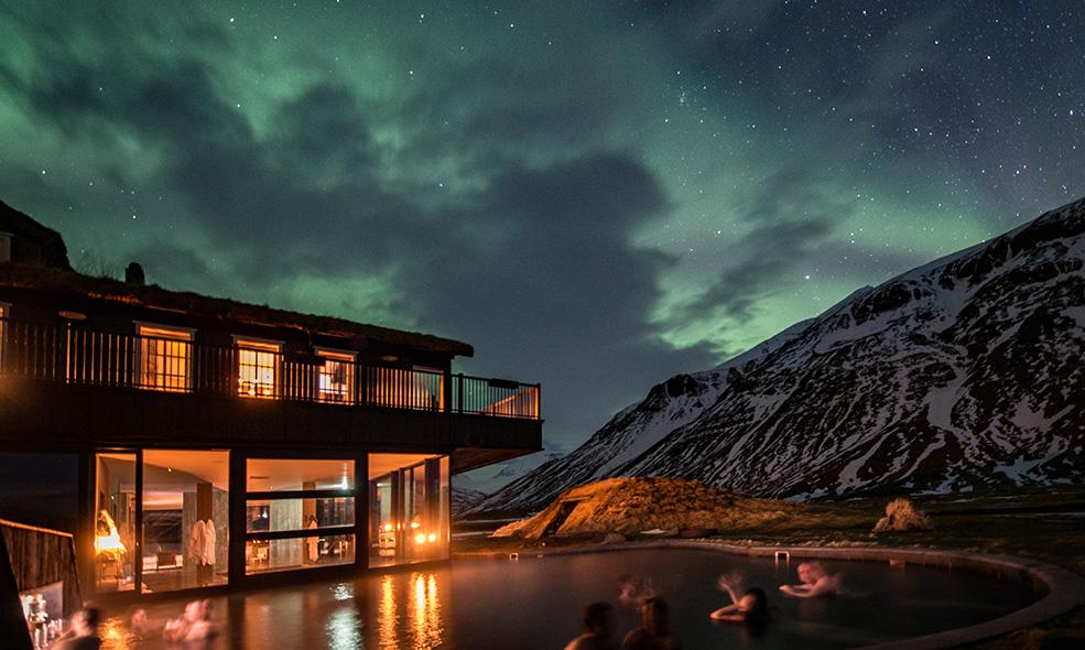 Deplar Farm Iceland hot springs pool northern lights
