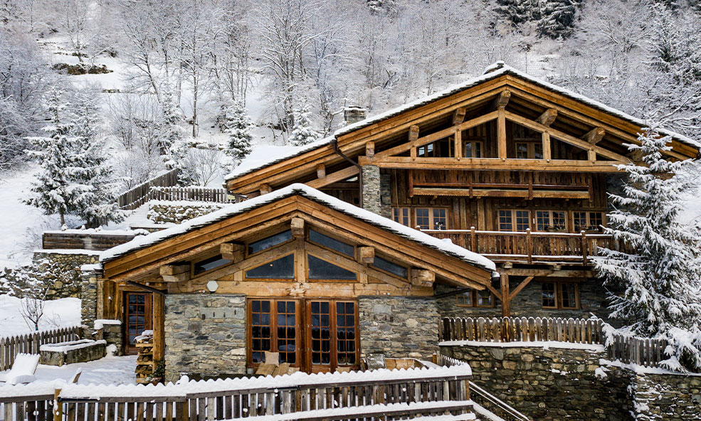 Exterior of Chalet Pelerin in France in the Winter