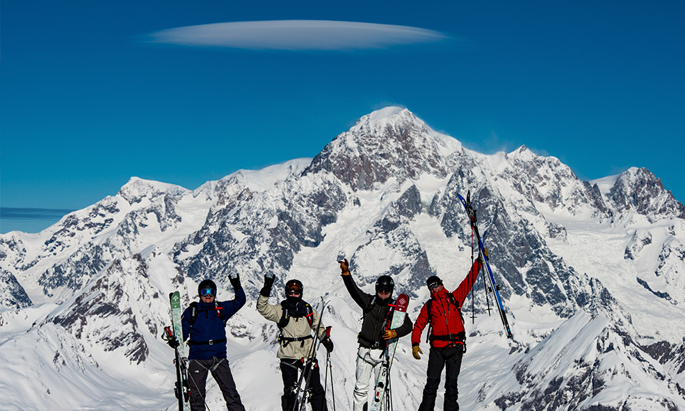 Group Enjoying Heli Skiing in the French and Italian Alps at Chalet Pelerin