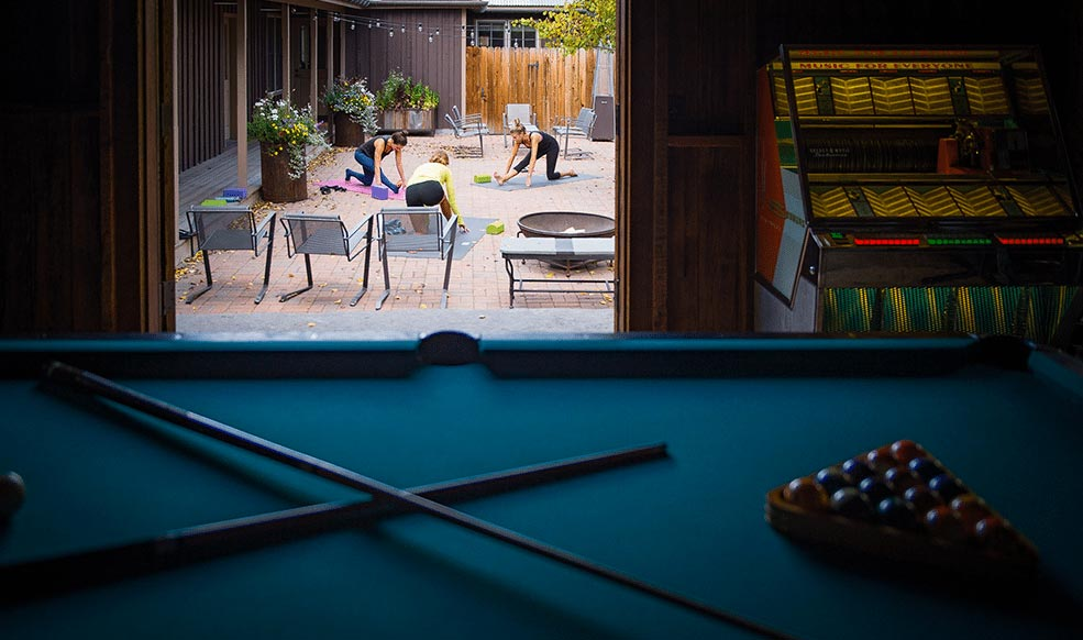 Outdoor yoga and pool table
