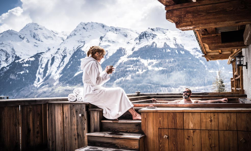 Hot Tub with French Alps Views at Chalet Hibou in Miroir France