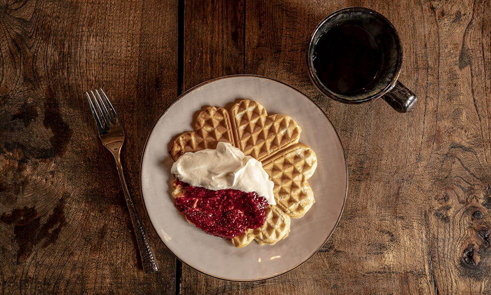heart waffles with fruit