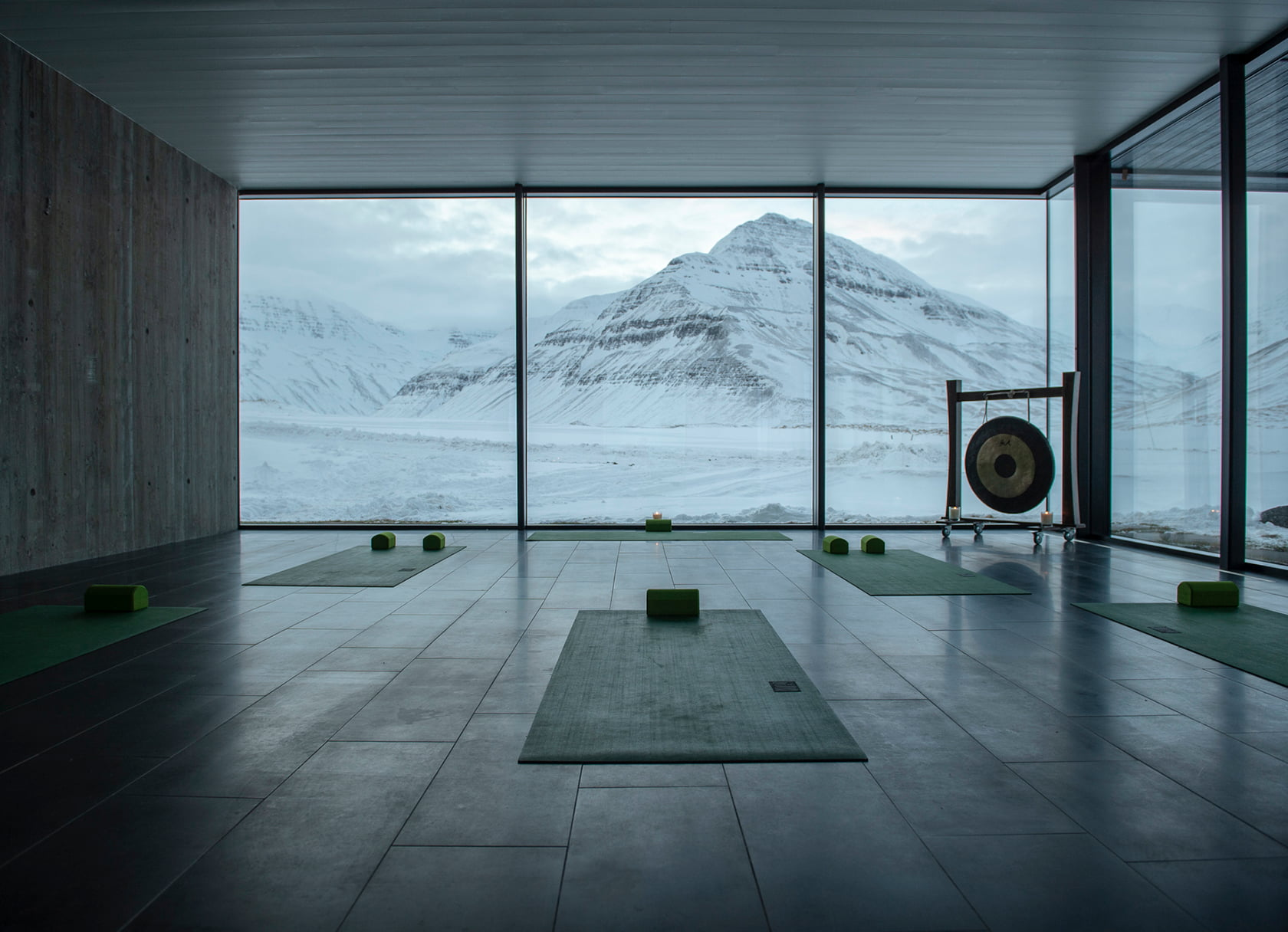 yoga room with a winter view iceland