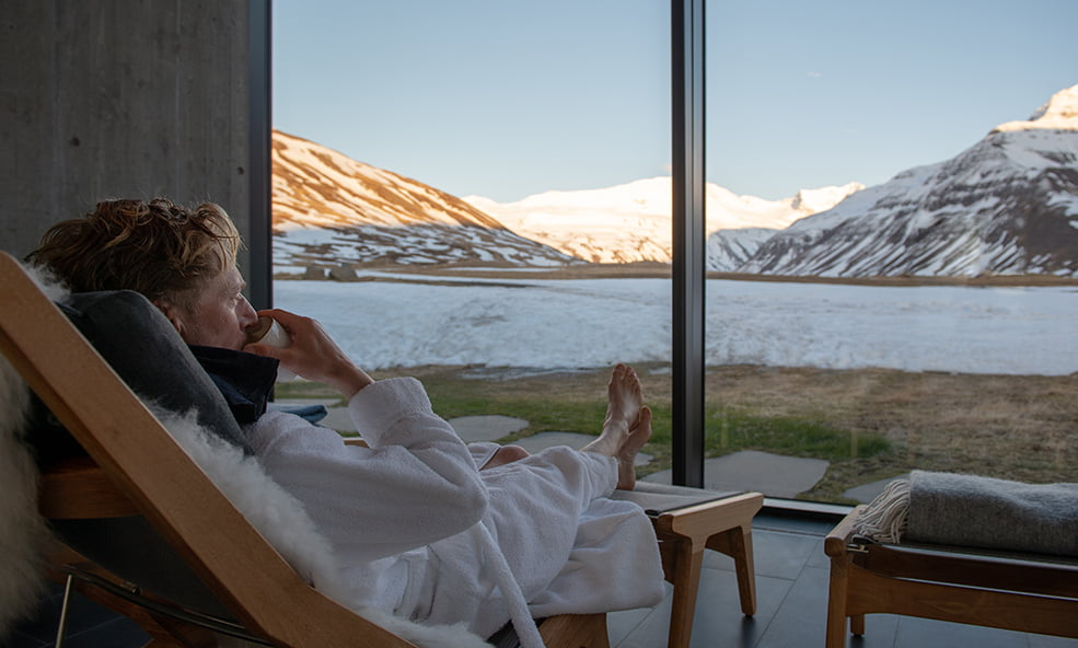 relaxing with a view iceland