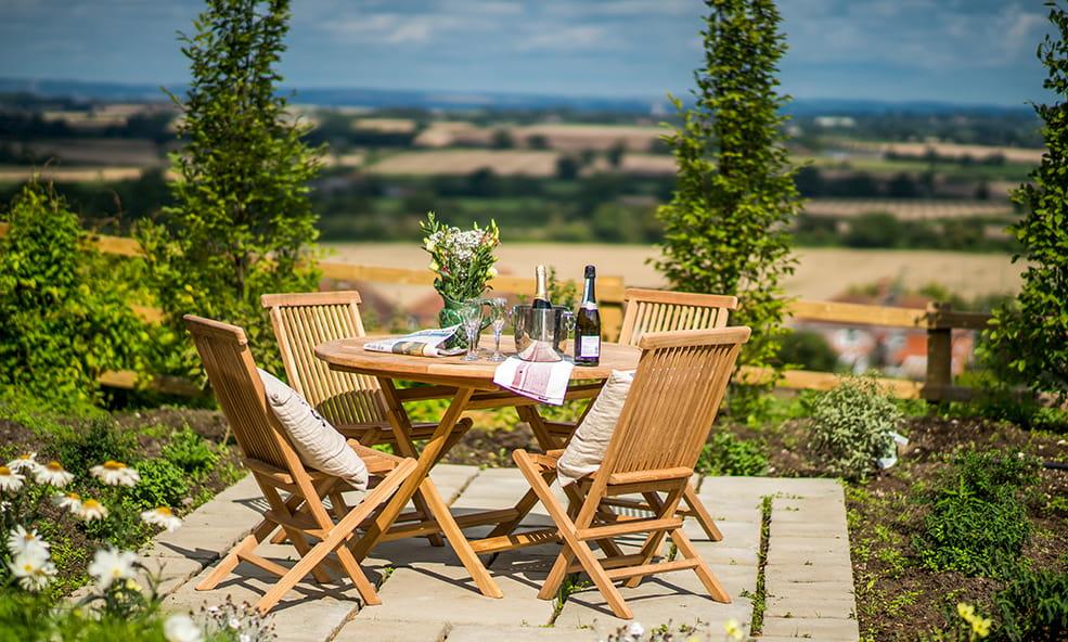 outdoor seating overlooking edington england