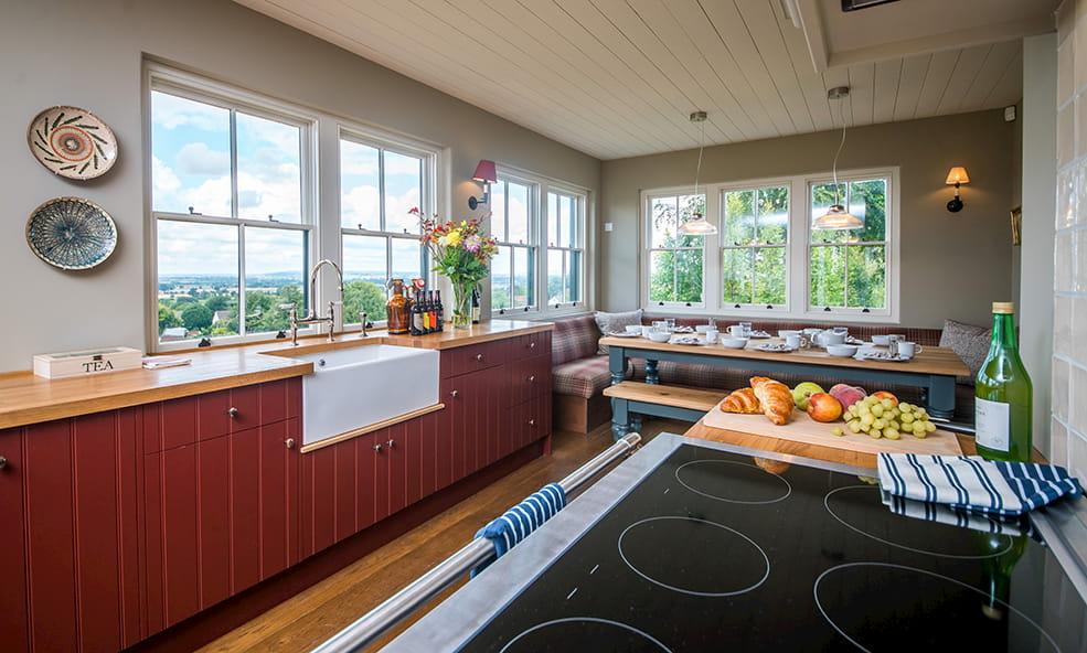 hillside kitchen with breakfast