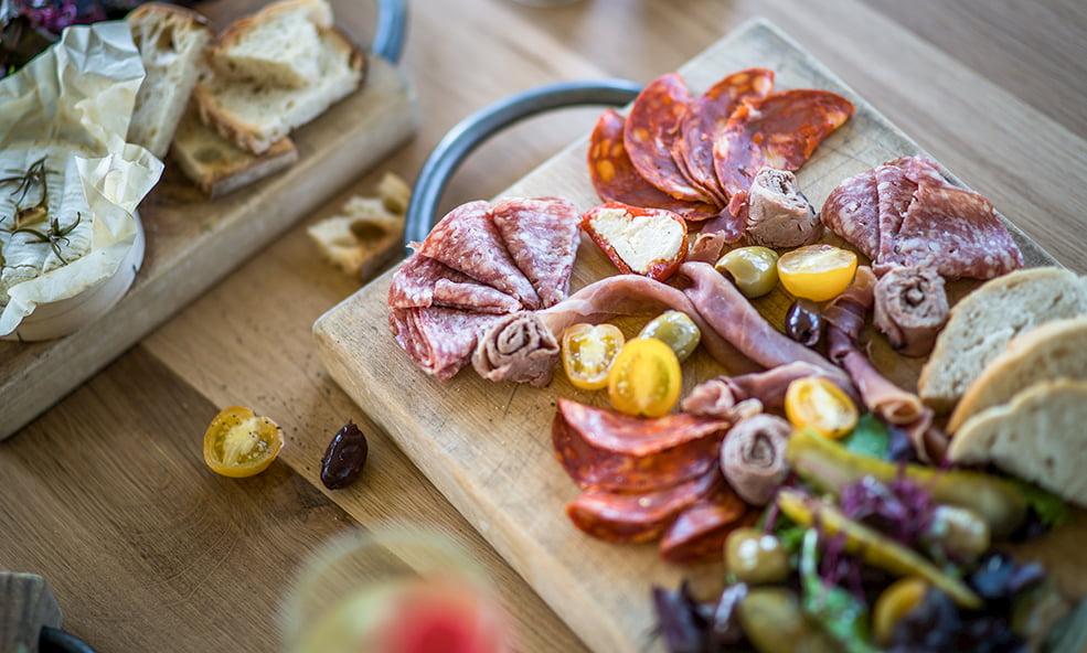 plate of fine meats hillside