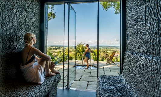 full spa amenities - steam room with a view