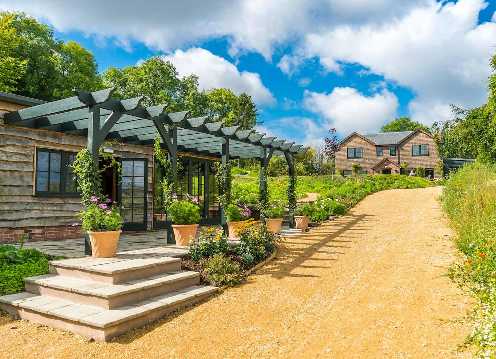 Outdoor Pergola Area Near Hillside Cottage in Edington, England