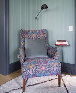 purple house interior chair