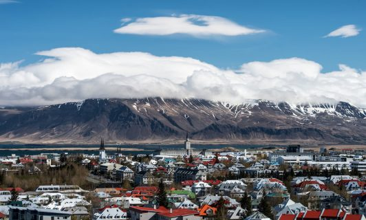 mountains of iceland with clouds