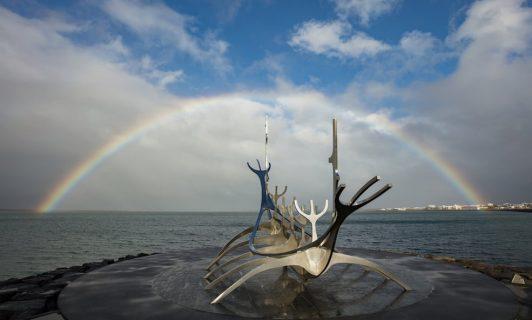 reykjavik statue with rainbow