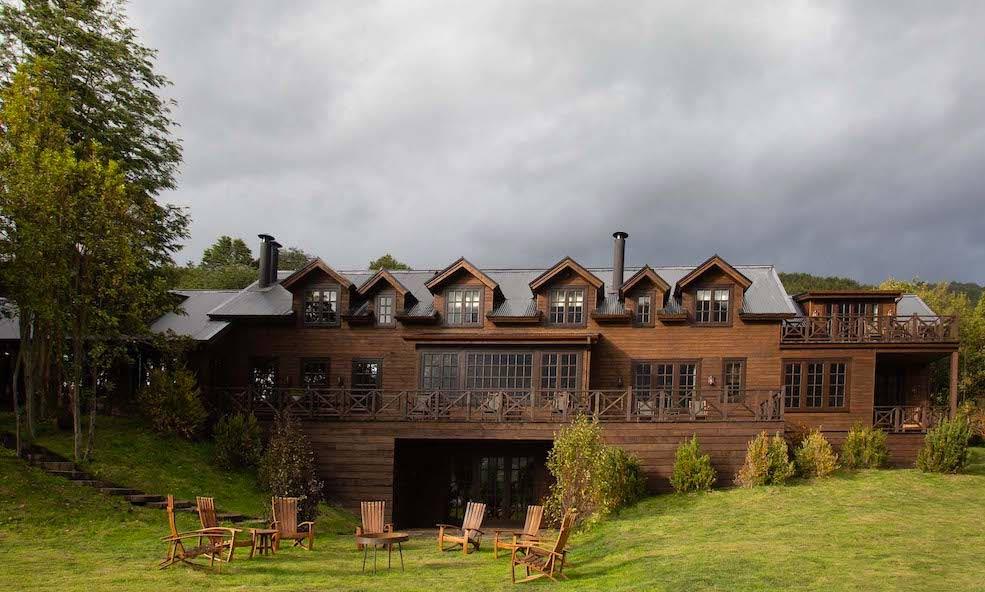 Exterior of Rio Palena Lodge in Chile